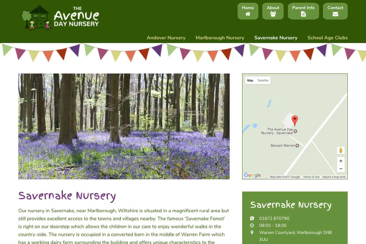 Portfolio screenshot of the Avenue Nursery top level nursery page